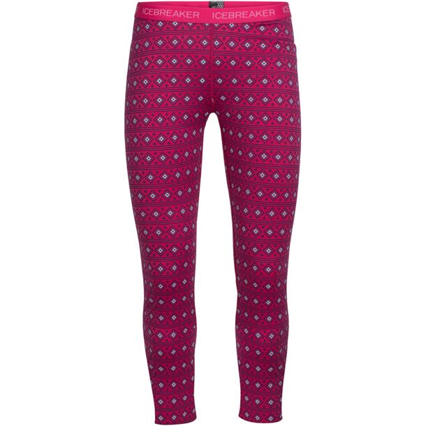 Icebreaker Kids Oasis Align Kids Leggings pop pink/snow 1