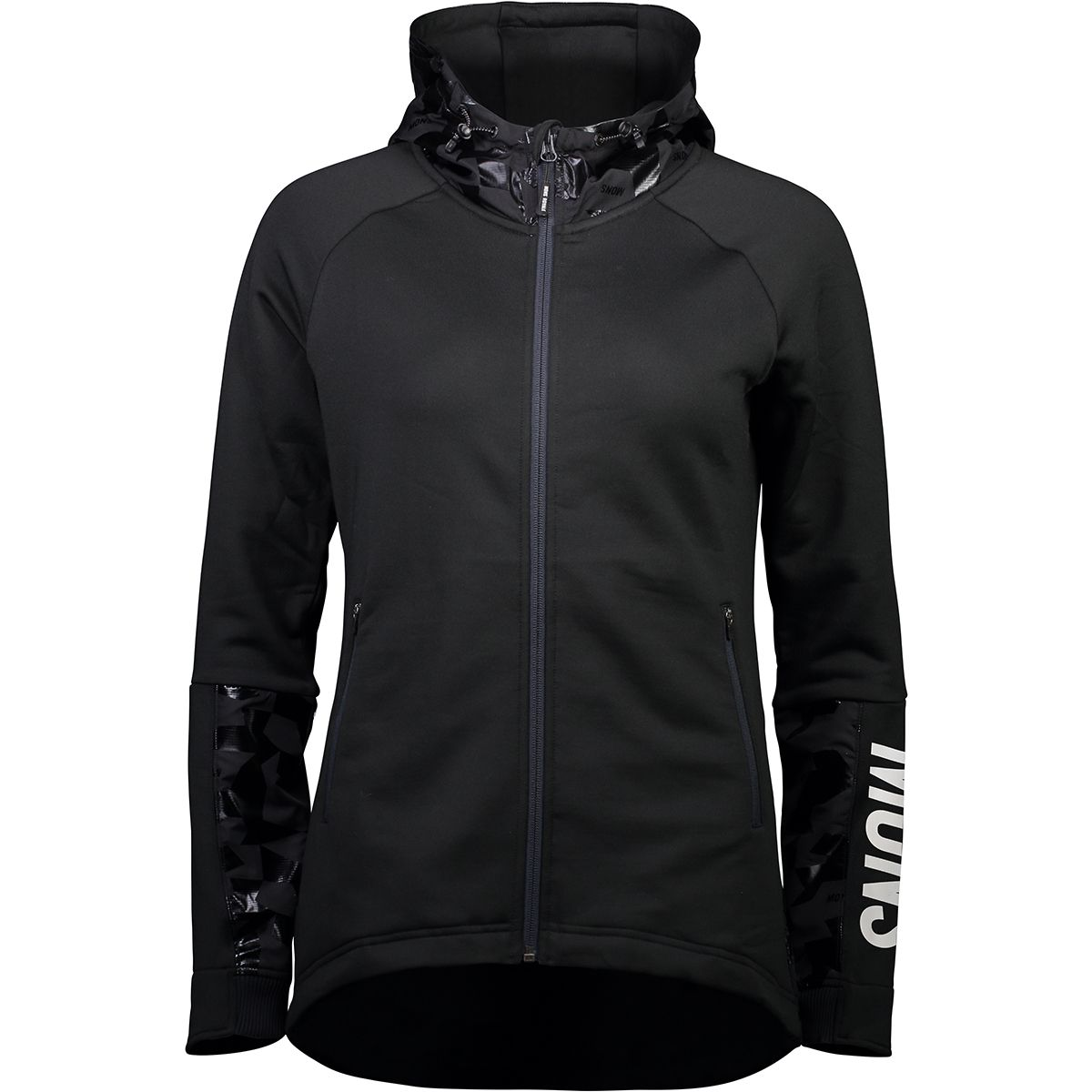 Mons Royale Damen Decade Tech Mid Hooded Jacke (Größe XS, Schwarz) | Fleecejacken > Damen