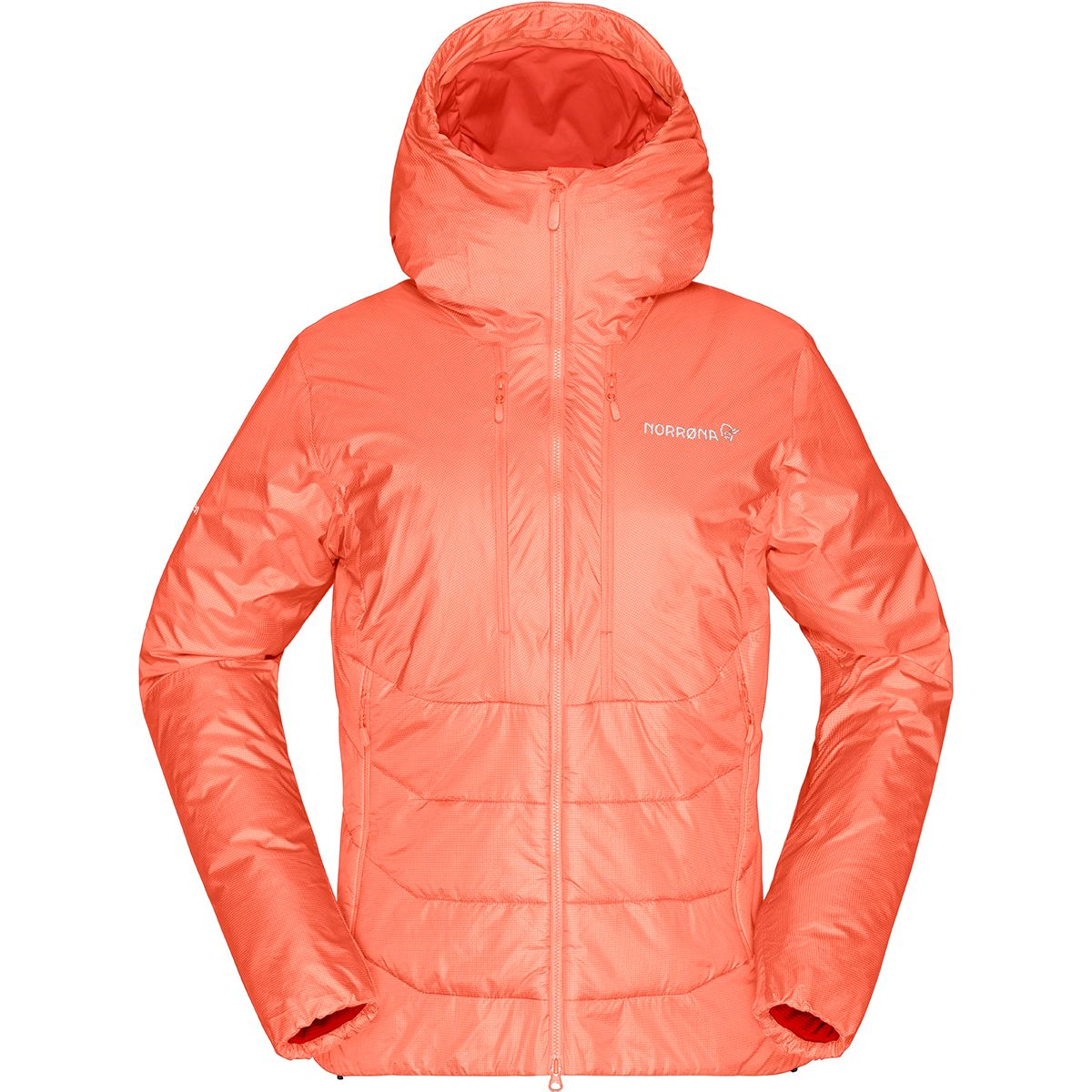 Norrona Damen Trollveggen Primaloft100 Zip Hood Jacke (Größe S, Orange) | Isolationsjacken > Damen