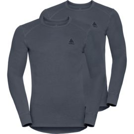 Odlo Herren Shirt L/s Crew Neck Warm 2er Pack