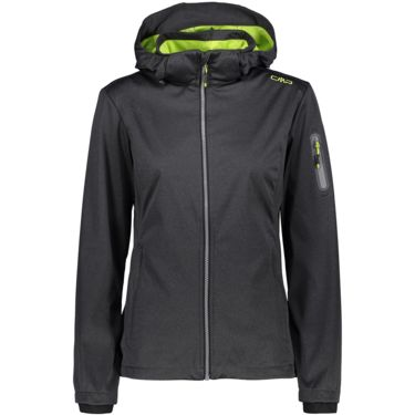 Damen Light Melange Softshell Jacke nero mel. bamboo 46