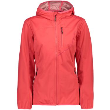 Damen Light Softshell Hoodie Jacke corallo 46