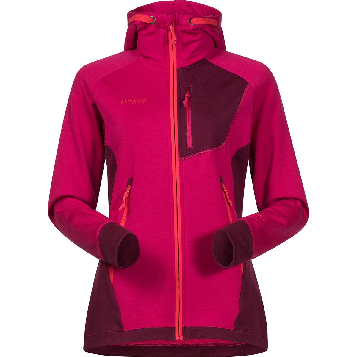 Bergans Damen Cecilie Wool Hooded Jacke (Größe XS, Rot) | Isolationsjacken > Damen