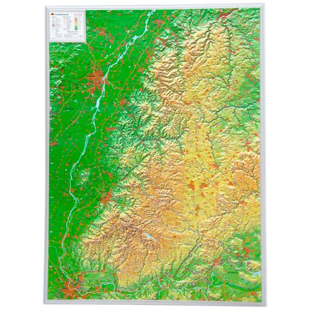 Map Of Germany For Sale.3d Relief Map Black Forest Germany Ohne Rahmen Klein