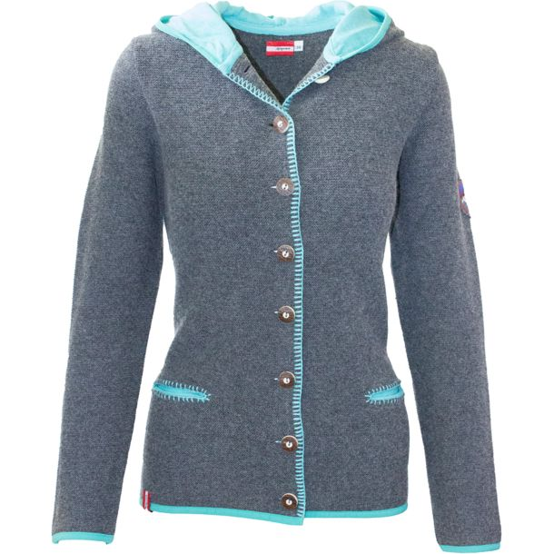 the best attitude 79ece d977a Damen Eibseealm Strickjacke grau-turkis 38