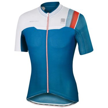 Sportful Men's Bodyfit Race Cycling Jersey baltic blue/white/fire red S