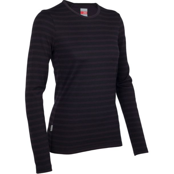 Icebreaker Damen Tech Top LS Crewe Stripe cognac XS