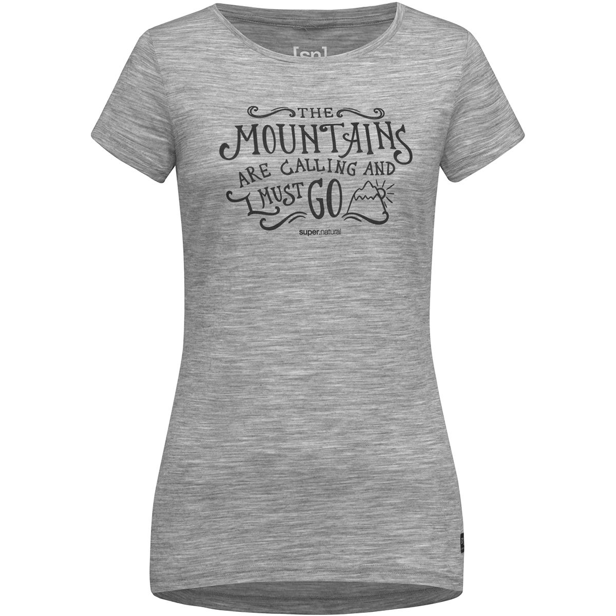 Super.Natural Damen Print Mountain Call T-Shirt (Größe XS, Grau) | T-Shirts Merino > Damen