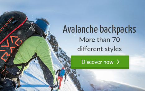 Avalanche backpacks in the bergzeit outdoor shop